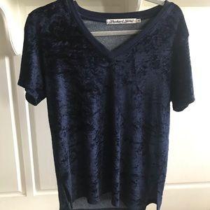 Michael Stars dark blue velvet t-shirt